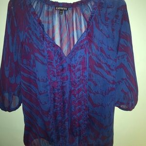Express blue & purple tiger striped blouse